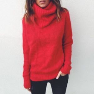 Ralph Lauren Sweaters - Ralph Lauren Chunky Red Wool Cable Knit Turtleneck
